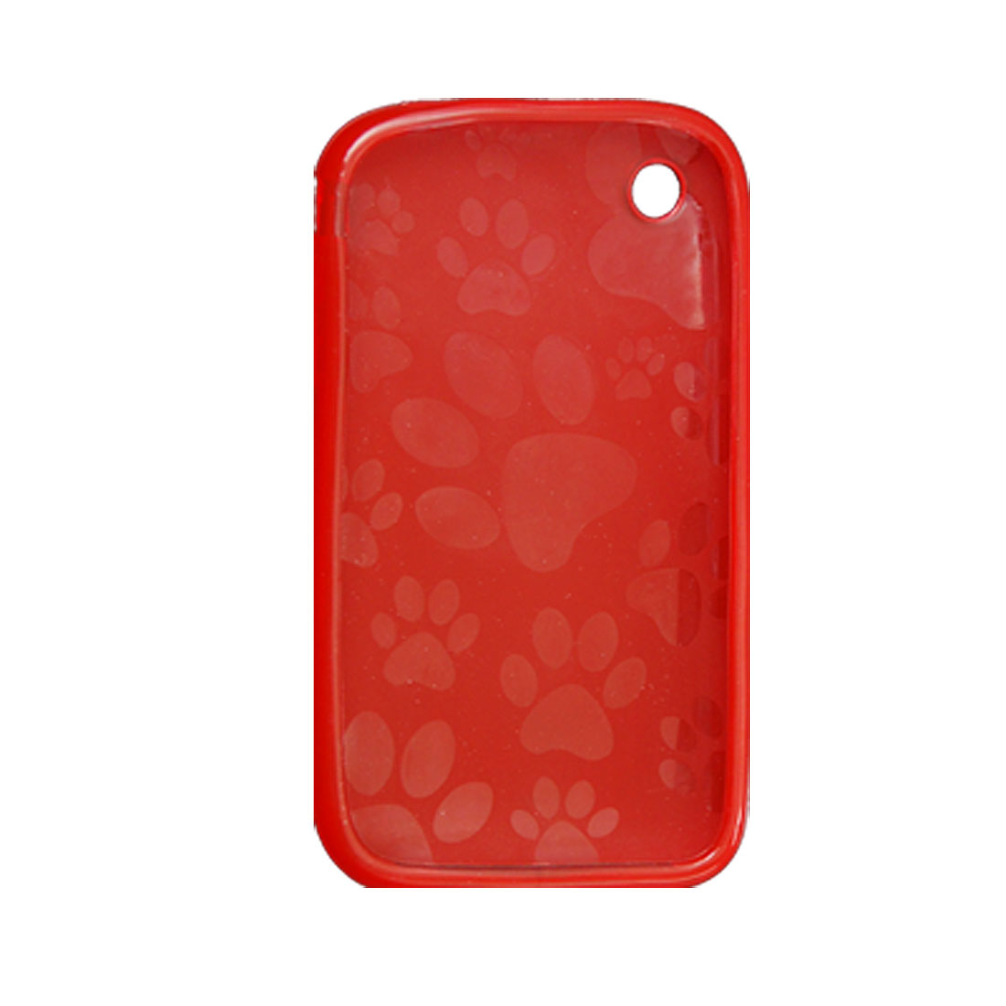 For iPhone 3G 3GS Interior Foot Print Clear Red Back Case Shell
