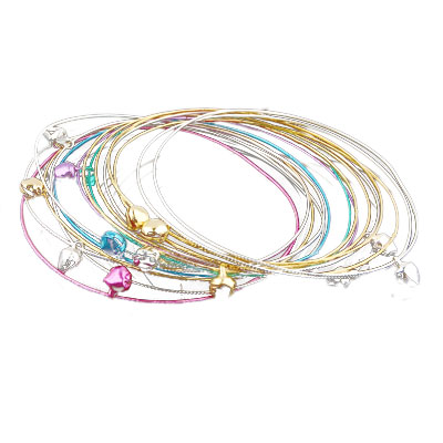 Colorful Alloy Plating Thin Bells Charm Bracelet 10 Pieces