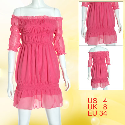 Shocking Pink Ruffled Chiffon Off Shoulder Tops for Ladies XS