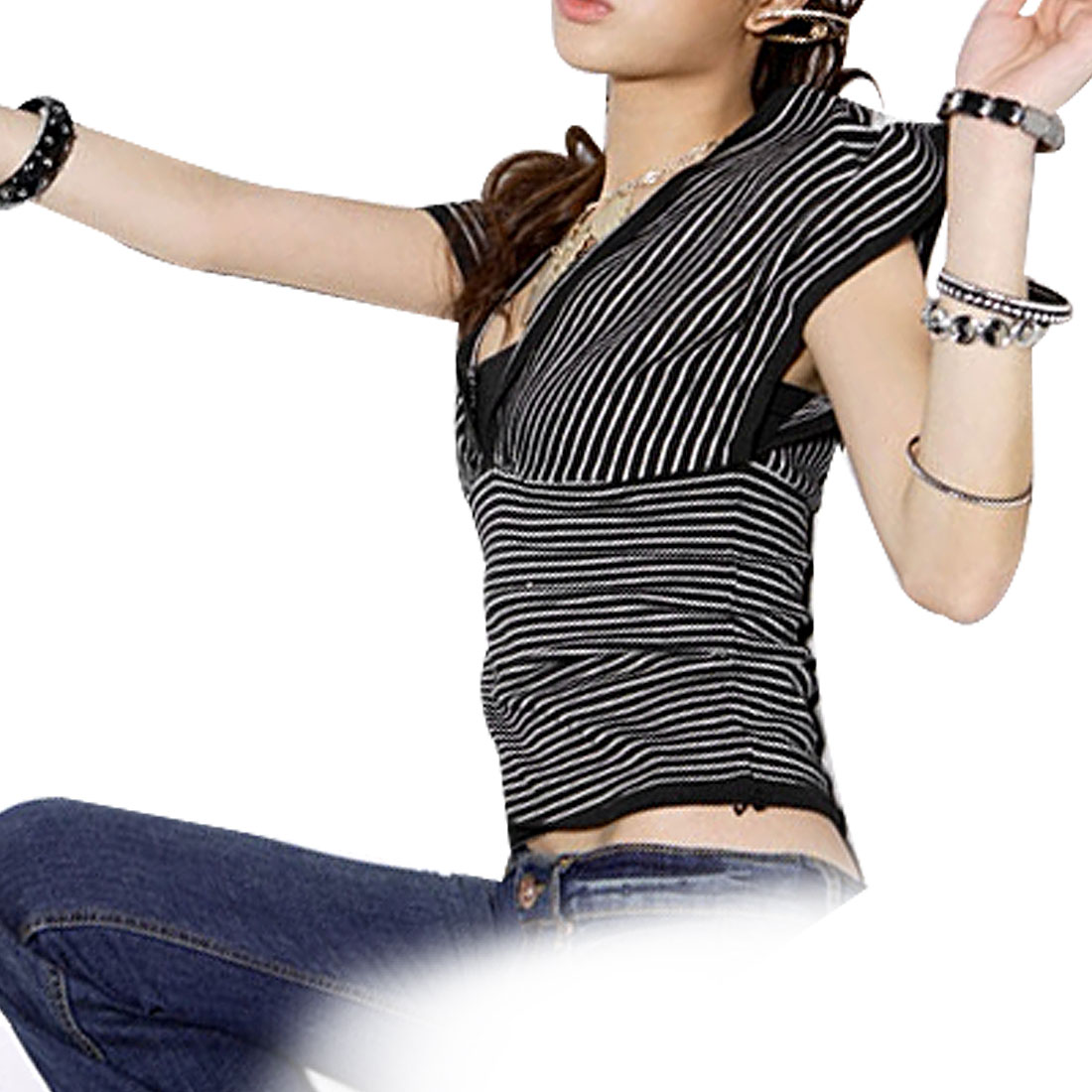 Ladies Black White Double Deep V Neck Striped Shirt Top XS