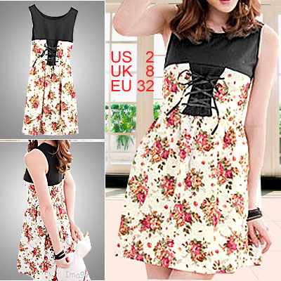Elastic Round Neck Wide Strap Sleeveless Flowers Printed Dress White Size XS