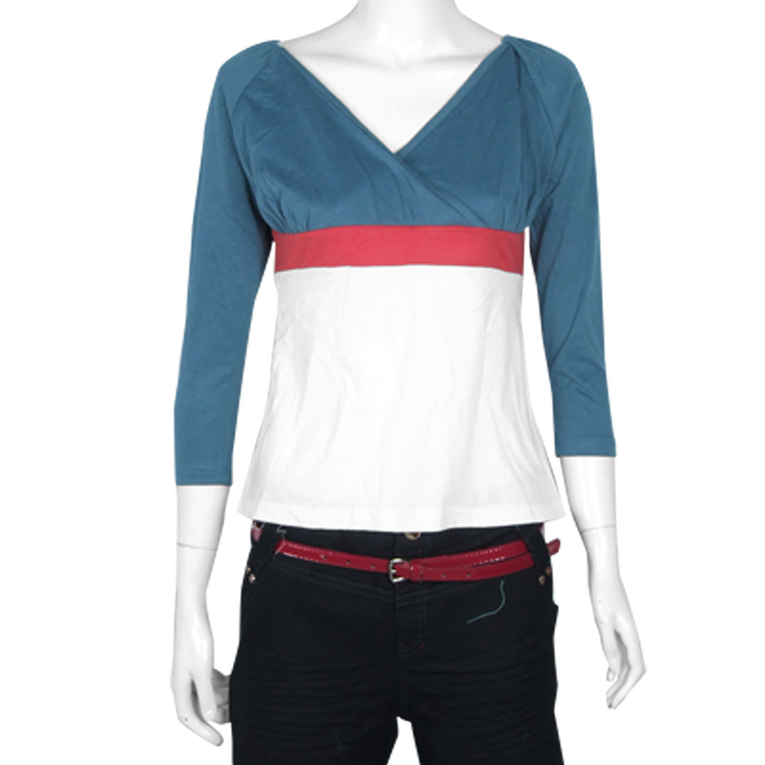 Three-tone Striped Style V Neck Shirt for Ladies XS