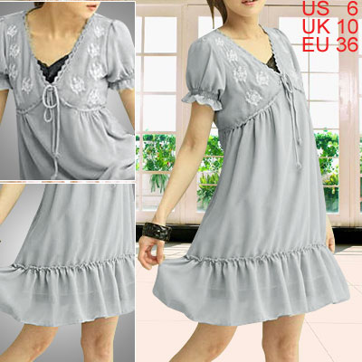 Ladies Gray Short Sleeve Crochet V Neck Chiffon Dress S