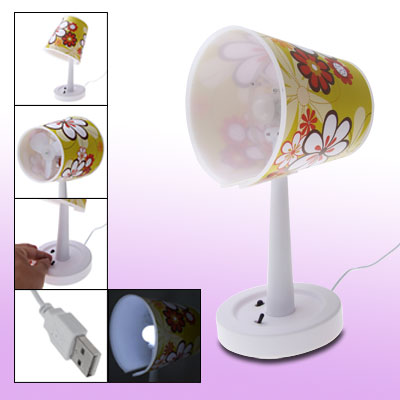 Yellow White Flower Pattern USB LED Desk Lamp with Fan for Laptop PC