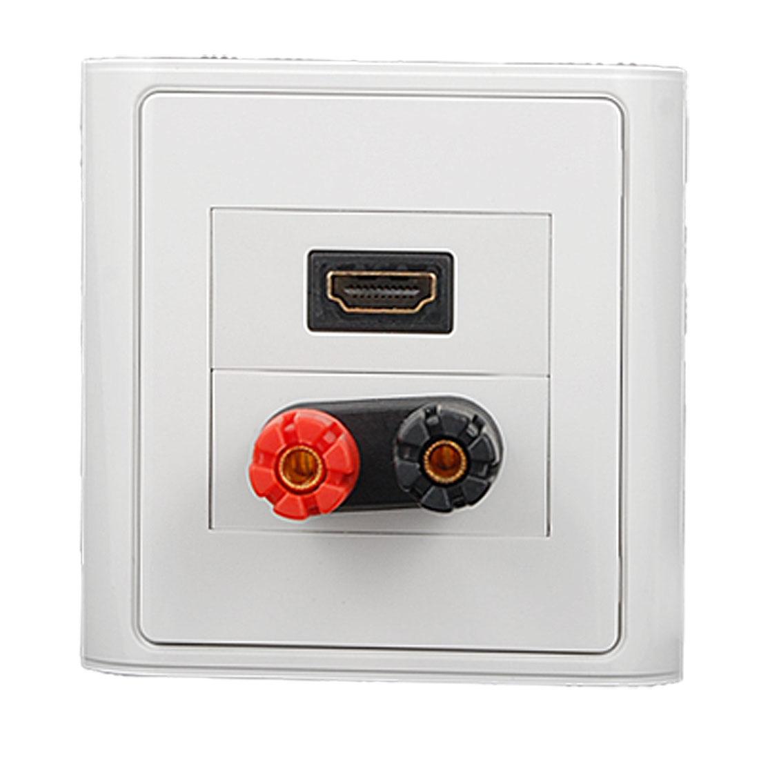 2 Binding Post for Single Speaker + HDMI Socket Wall Plate White