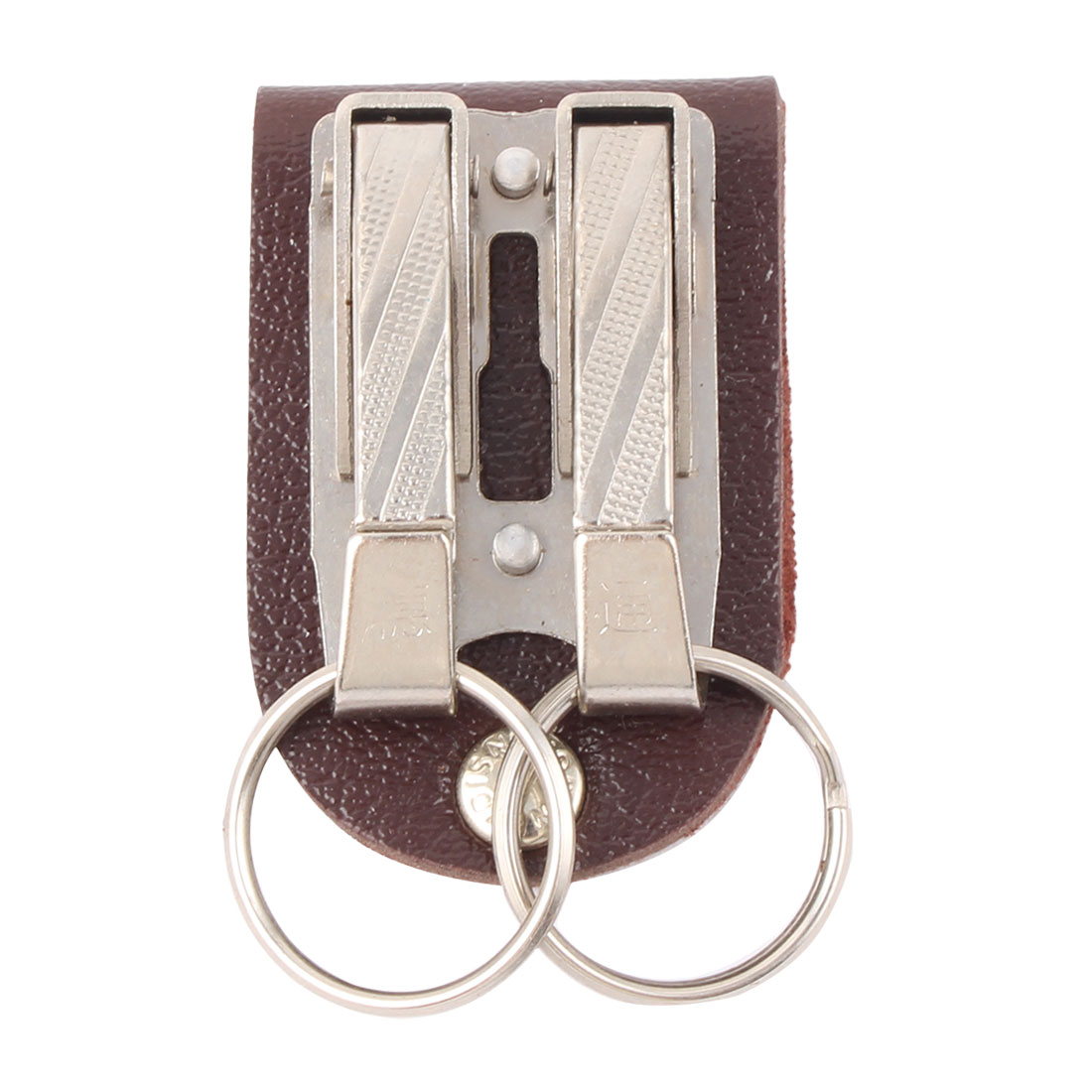 Brown Faux Leather Keychain w Two Circles Metal Key fob