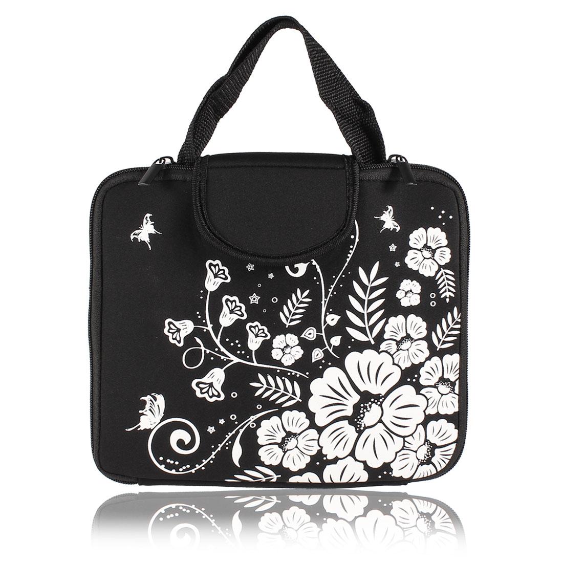 """10"""" 10.1"""" 10.2"""" Black Flower Butterfly Neoprene Laptop Sleeve Bag Case for Tablet"""