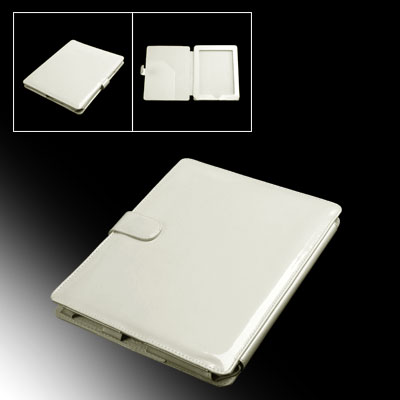 Side Flip Flap Faux Leather Off White PC Case for Notebook Laptop