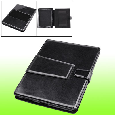 Faux Leather Black Smooth Case w Stand Leg for Notebook Laptop