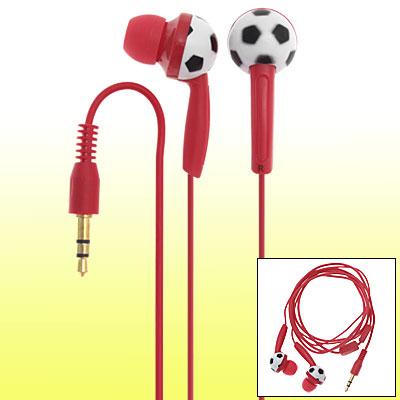 Red Cable 3.5mm Football Design Earplug Earphones