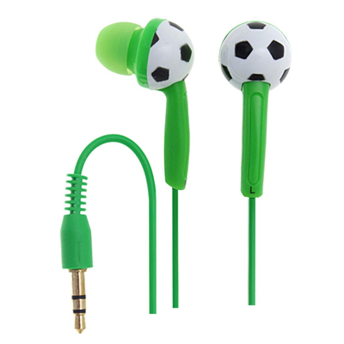 3.5mm Green Cable Football Design Inner-ear Earphones