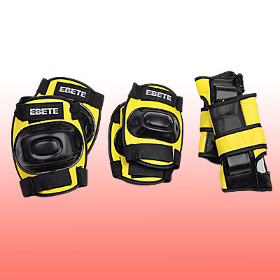 Yellow Multifunctional Skate Sports Protector Set 3 Pairs in 1