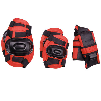3 Sets Red & Black Children Knee Elbow Wrist Sports Protector