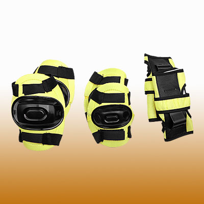 Yellow & Black Elbow Knee Wrist Support Sports Protector Set