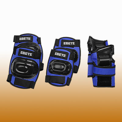 In-line Skating Sports Support Protector Set Blue & Black
