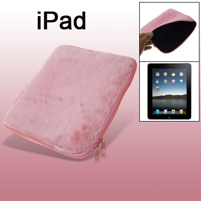 Pink Plush Skin PC Bag With Zipper for Laptop Notebook