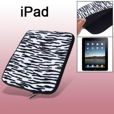 Mussy Black Stripe Plush Two-way Zipper Bag for Laptop