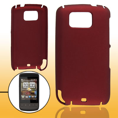 Rubberized Plastic Case for HTC Touch2 T3333 Dark Red