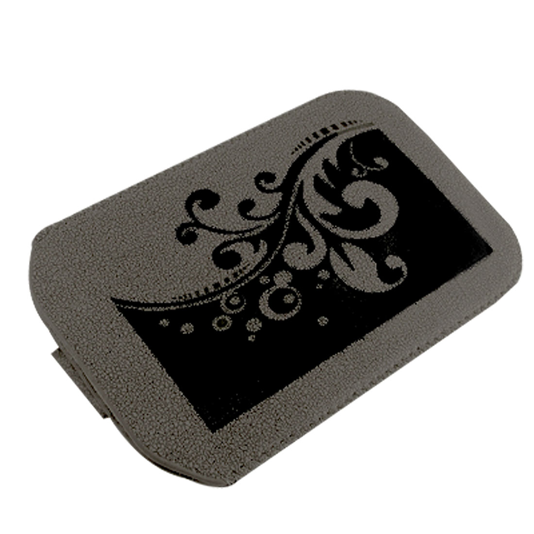 Flower Pattern Pull Up Dark Gray Pouch Case for iPhone 3G