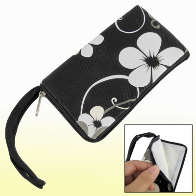 Flowers Print Black Zipper Pouch for Universal Cell Phone