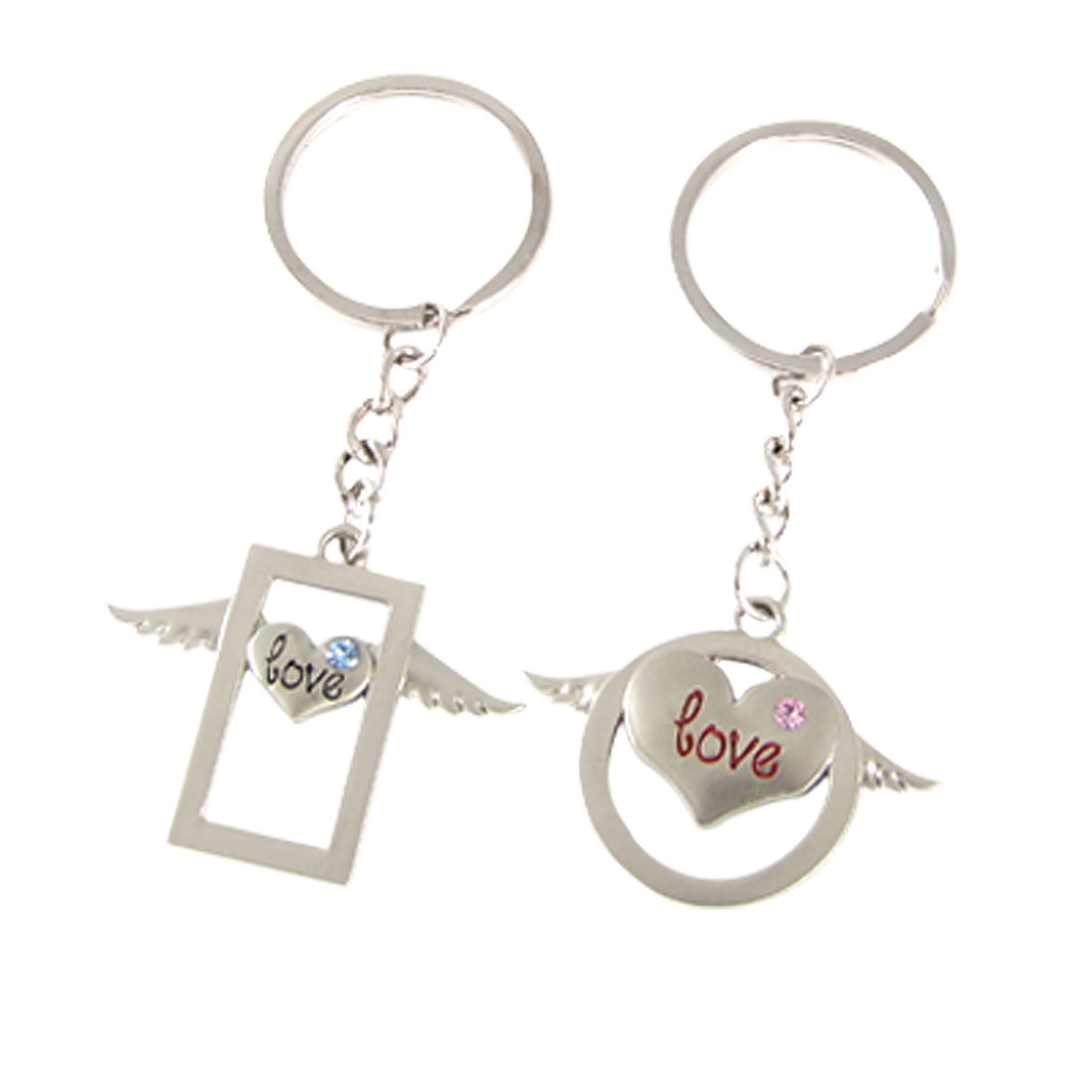 2 Pcs Silver Tone Alloy Angel Wing Design Love Keychain