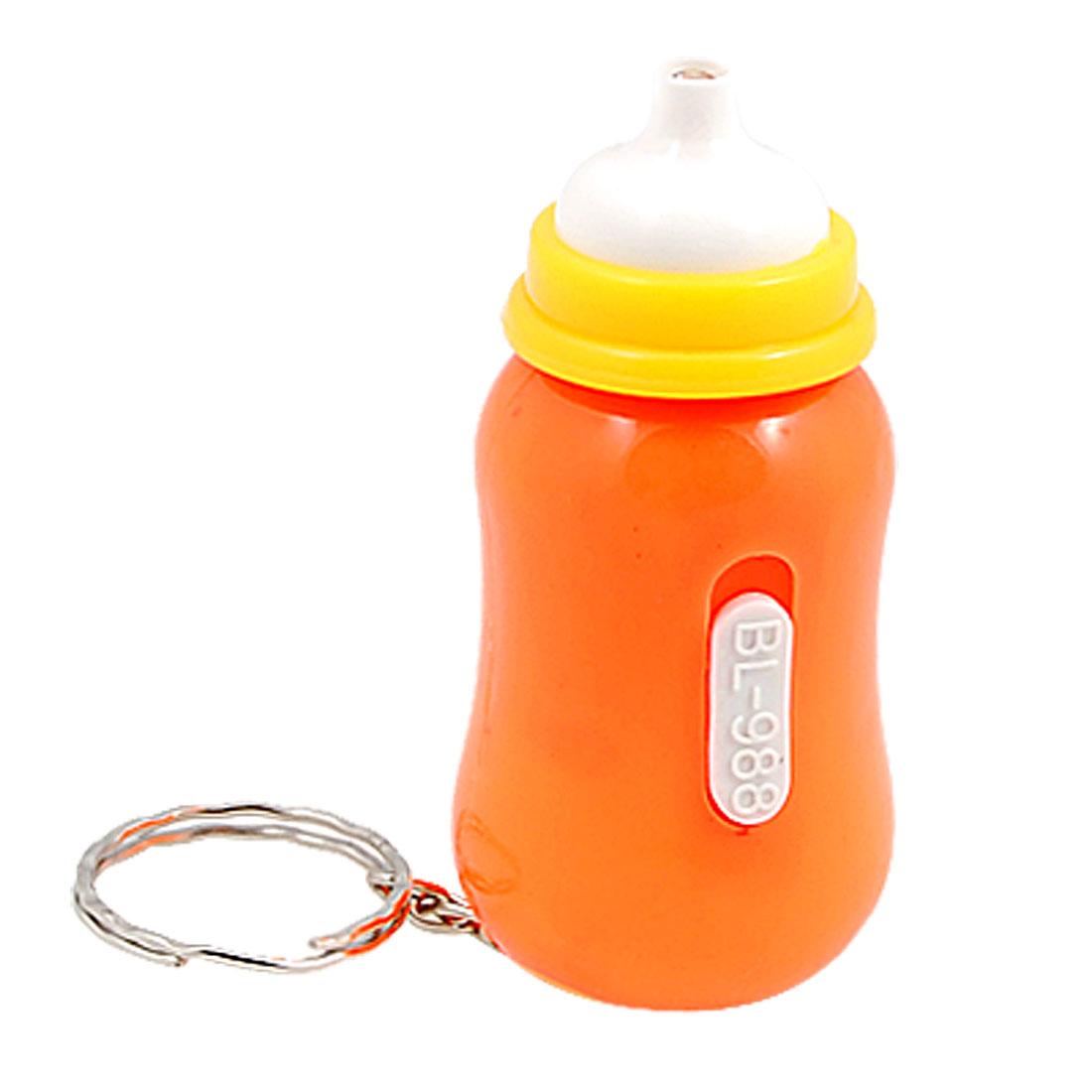 Orange Raising Bottle Style LED Bulb Key Chain Ring
