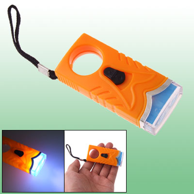 Orange Plastic Mini 2 LED Bulb White Light Torch with Strap