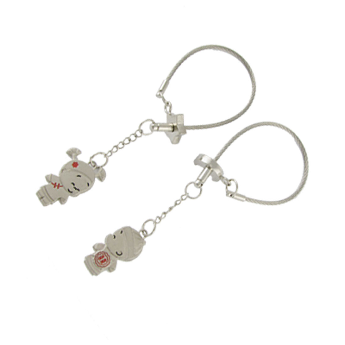 2 Pcs Metal Silver Tone Cartoon Figure Key Chain Ring for Lovers