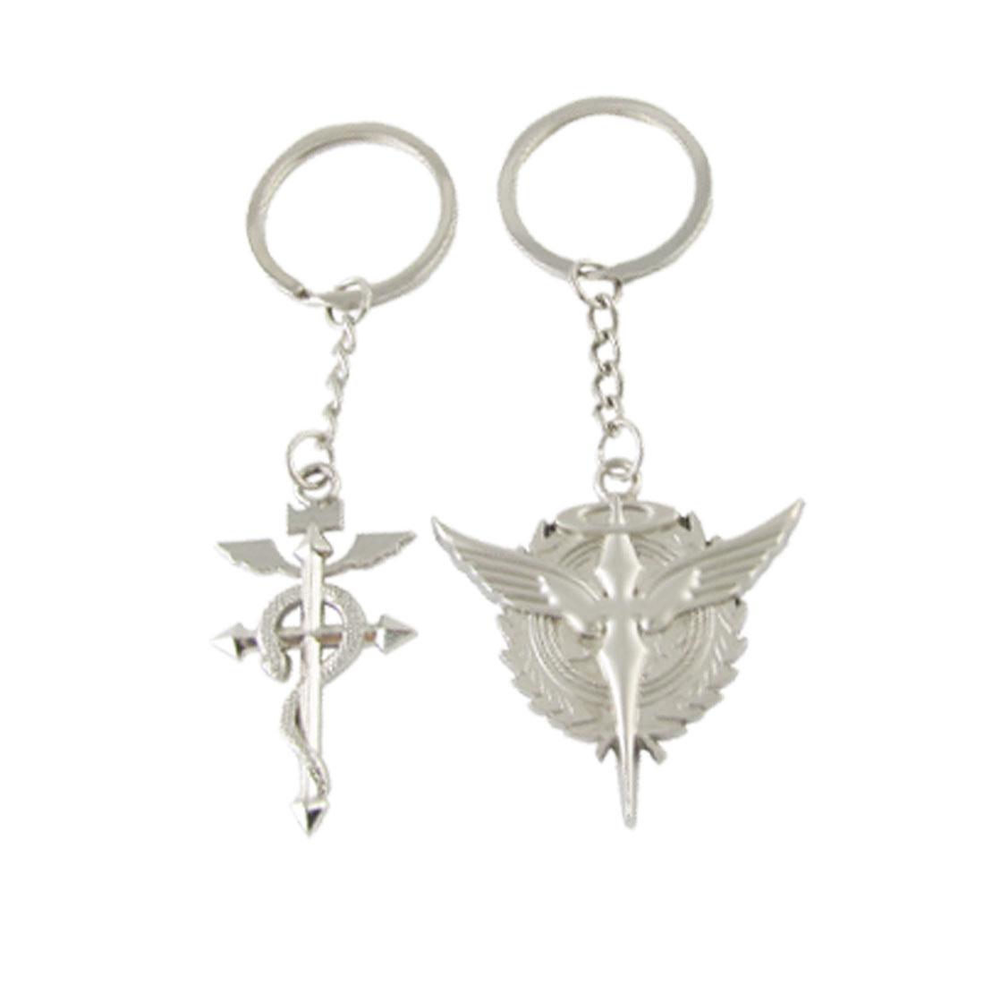 2 Pcs Metal Silver Tone Cross Snake Key Chain Ring