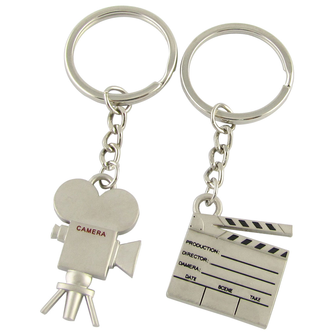 Auto Metal Film Shoot Equipment Design Decoration Key Ring Silver Tone 2 in 1