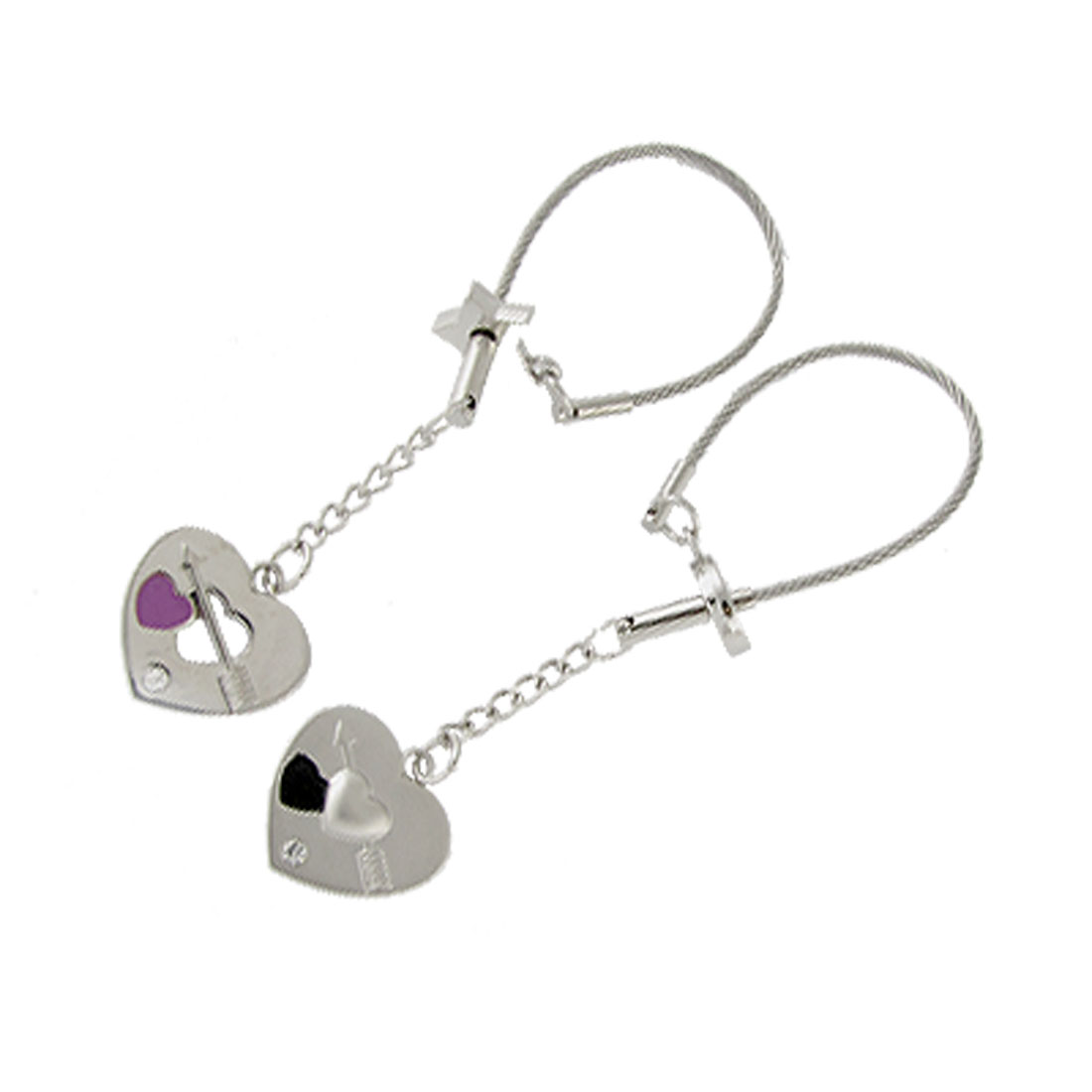 2 Pcs Metal Key Chain Ring with Heart Pendant for Lovers Silver Tone