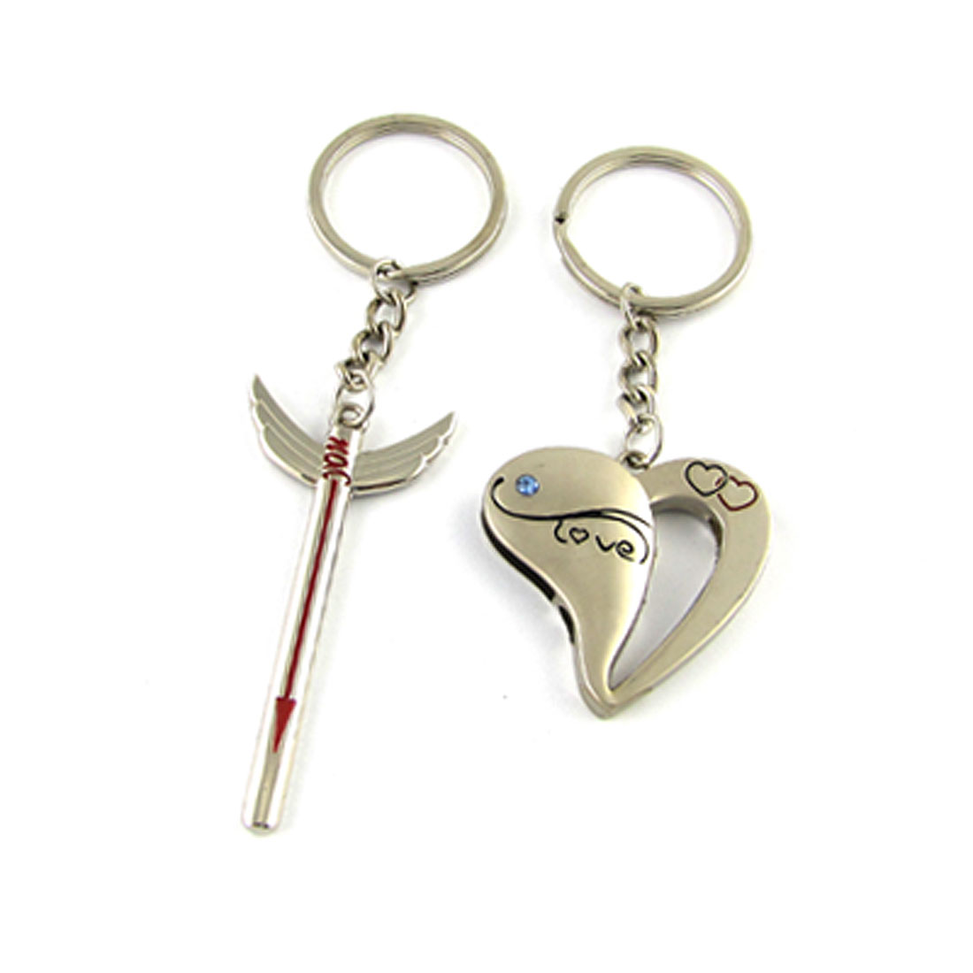 Silver Tone Heart Arrow Metal Key Chain Ring for lovers 2 Pcs