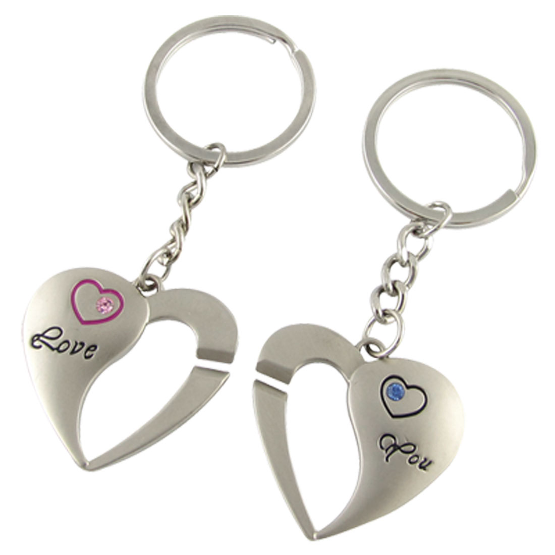 2 Pcs Silver Tone Heart Rhinestone Metal Key Chain Ring for lovers