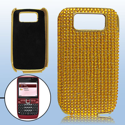 Yellow Crystal Decor Plastic Guard Cover for Nokia E63