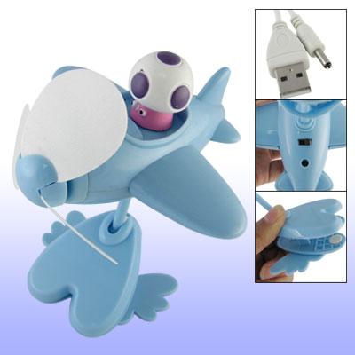 Mini Plane Style Blue USB Cooling Fan for PC Laptop