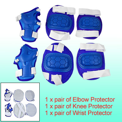 Size L 3 Sets Knee Elbow Wrist Pads Protective Outfits Blue