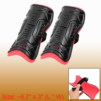 Black Pair of Soccer Shin Guards Crus Support Protector Size M