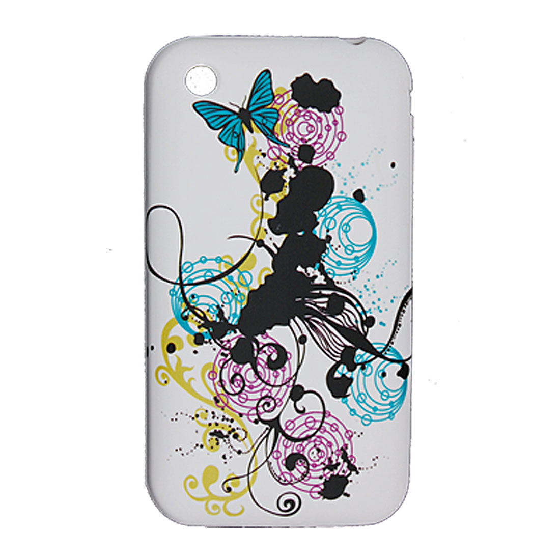 Round Print Rubberized Plastic Cover for iPhone 3G 3GS
