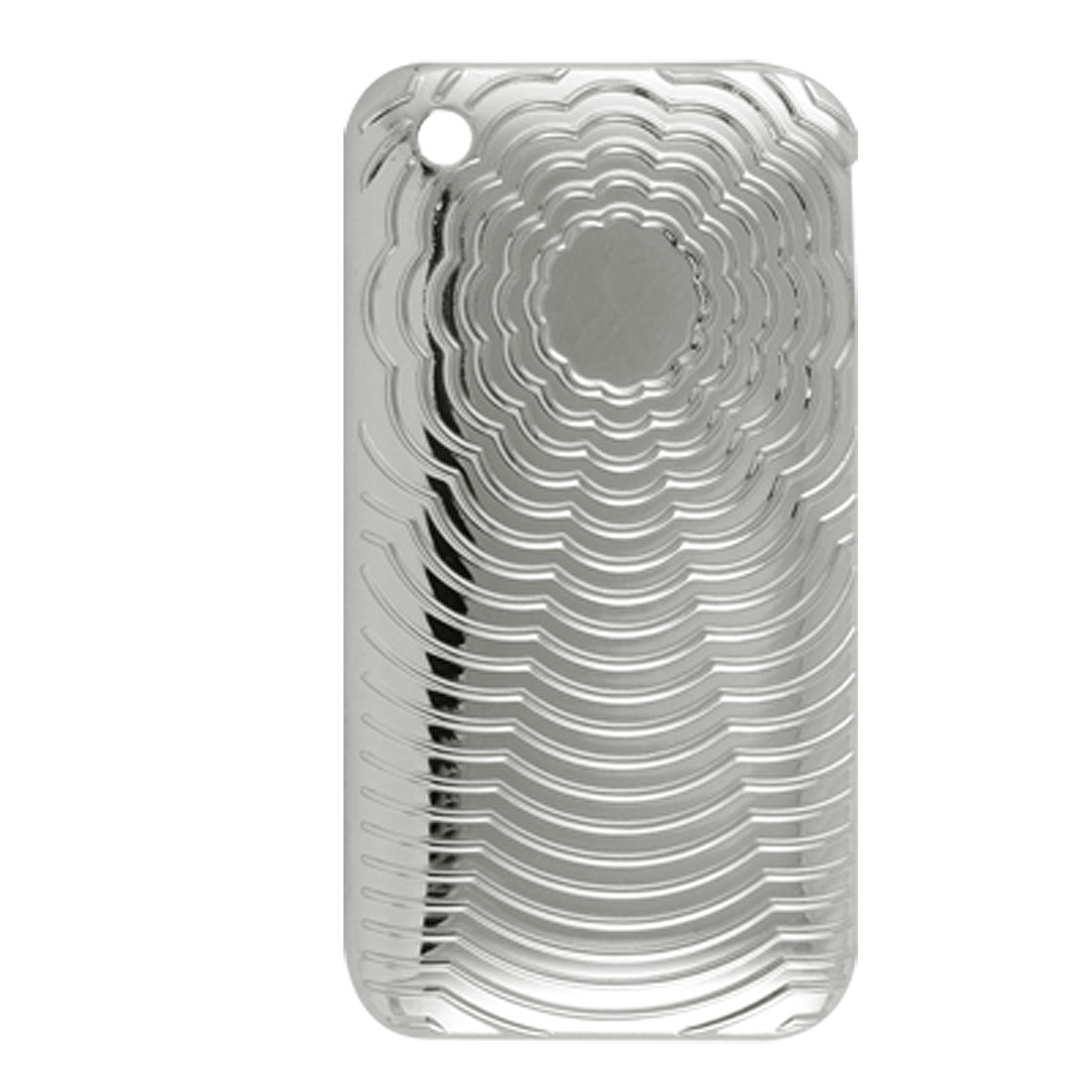 Hard Plastic Curve External Nonslip Back Case for iPhone 3GS Silver Tone