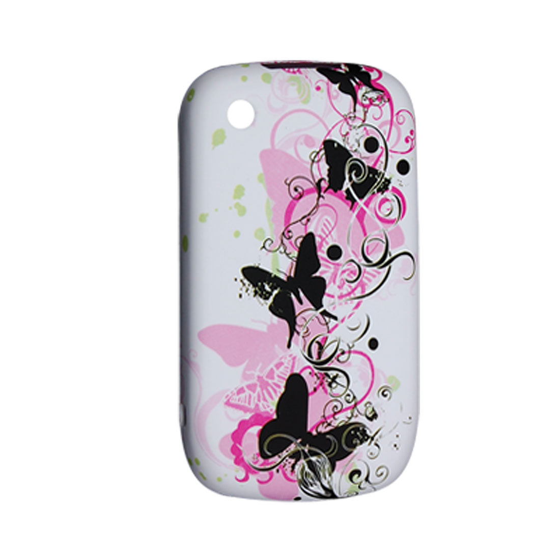Soft Plastic Butterfly Print Shield Case for Blackberry 8520