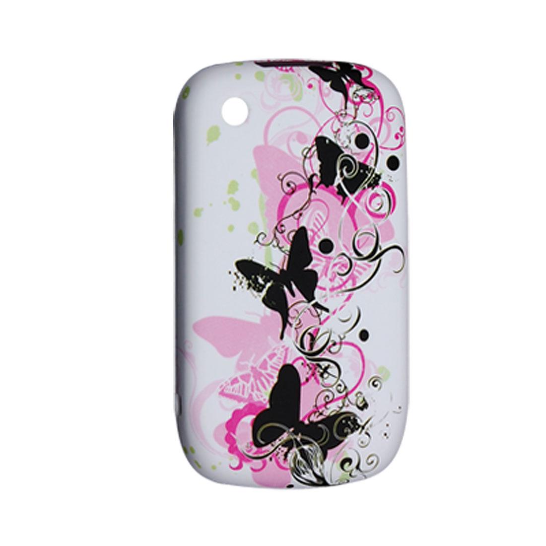 Soft Plastic Butterfly Print Shield Case for Blackberry 8520