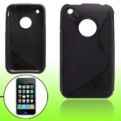Fit iPhone 3GS Black Soft Plastic Back Case Cover Skin