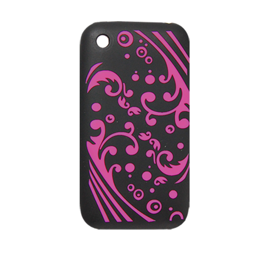 Black Fuchsia Sea Wave Soft Silicone Case for iPhone 3G