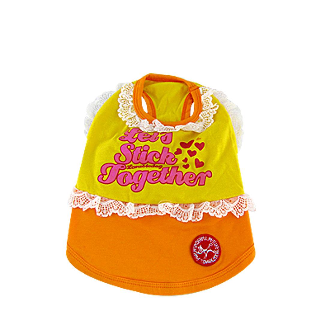 Lovely Orange Lace Pet Puppy Dog Cat Apparel Clothes T shirts Vest Dress Size 3