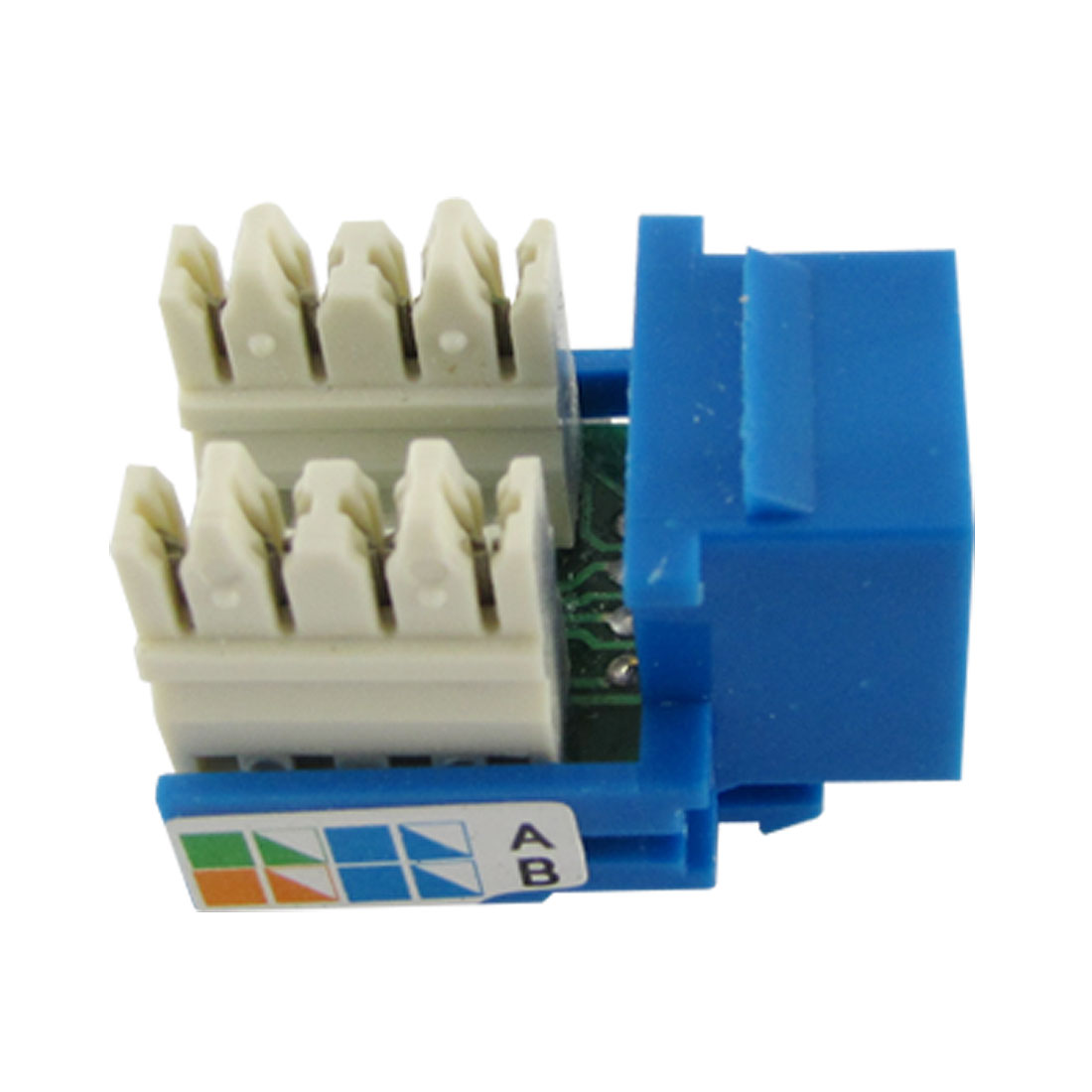 Plastic Cat5e RJ45 Connector Network Jack Module Blue White 3 x 2.5 x 2cm