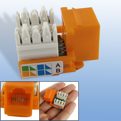 Plastic Put-in LAN ADSL Network CAT5e RJ45 Module Orange White 3 x 2.5 x 2cm