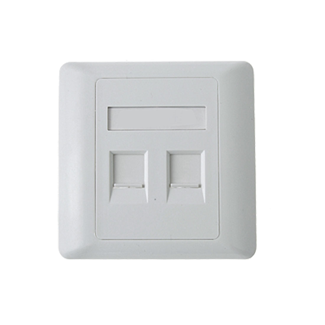 Home White RJ45 RJ11 2 Sokcets Plastic Square Panel