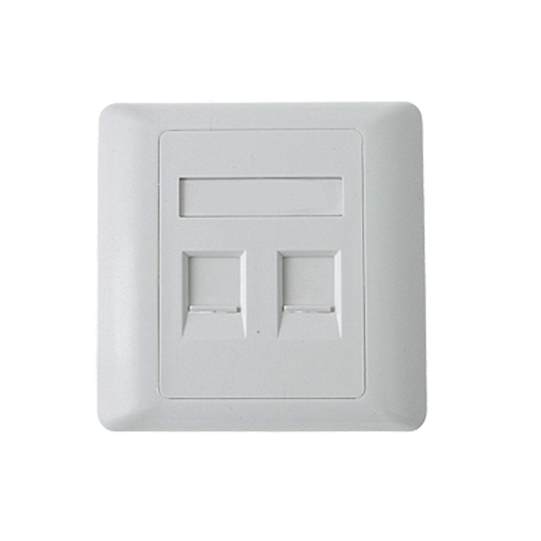 Home White RJ45 RJ11 2 Sokcets Plastic Square Panel