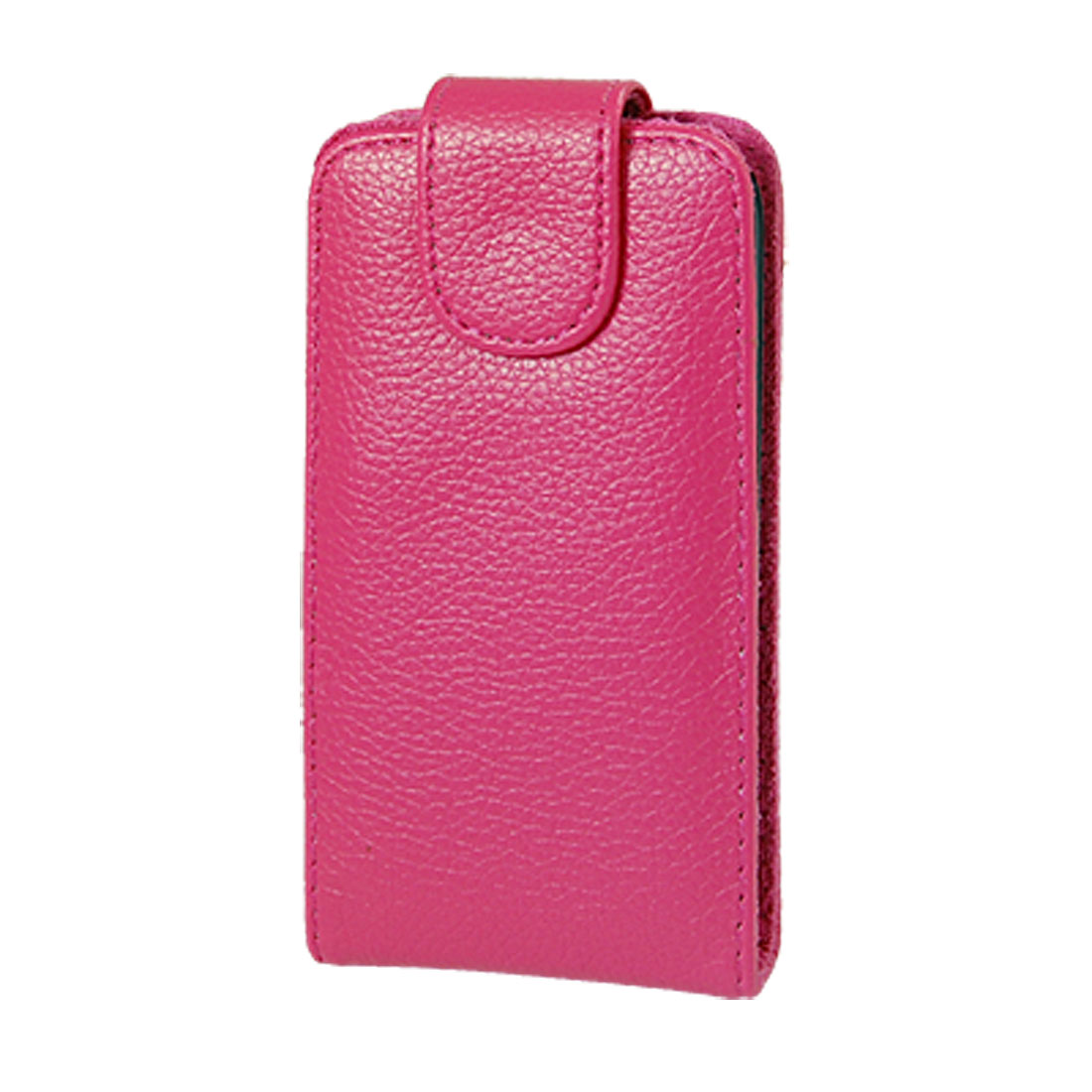 Fuchsia Textured Faux Leather Flap Pouch Case for iPhone 3G