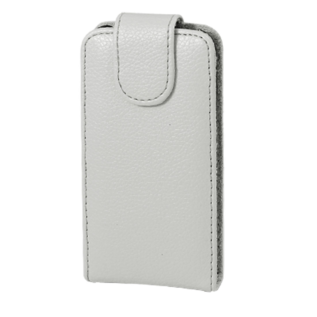 Ash Gray Textured Faux Leather Magnetic Clip Pouch Case for iPhone 3G